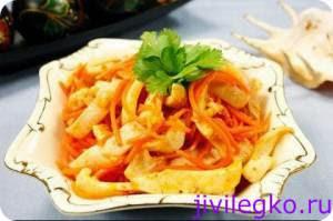 Салаты с маринованными кальмарами рецепт