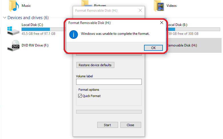 Windows was unable to complete the format SD Card or USB