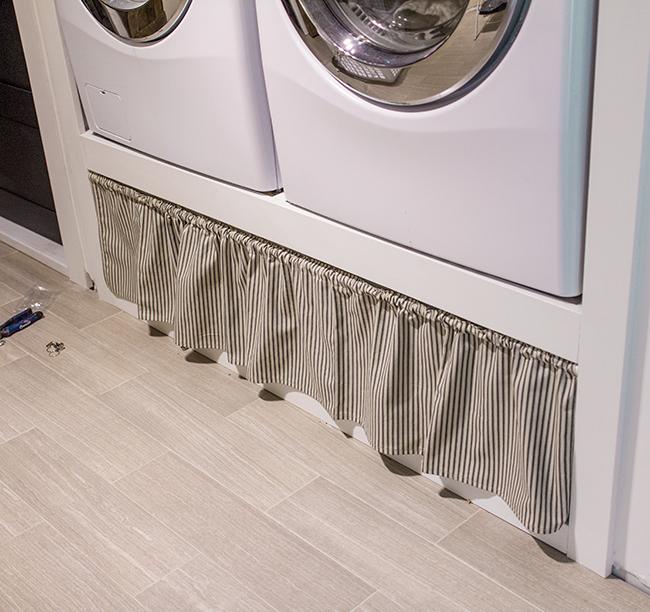New Laundry Room: Farmhouse Curtain, Ironing Board & Shelf