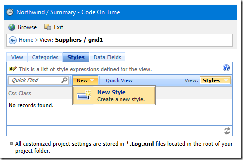 Adding a new style to the 'grid1' view of Suppliers controller.