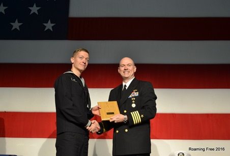 Petty Officer Smith receiving a Personal Excellence Award, as well