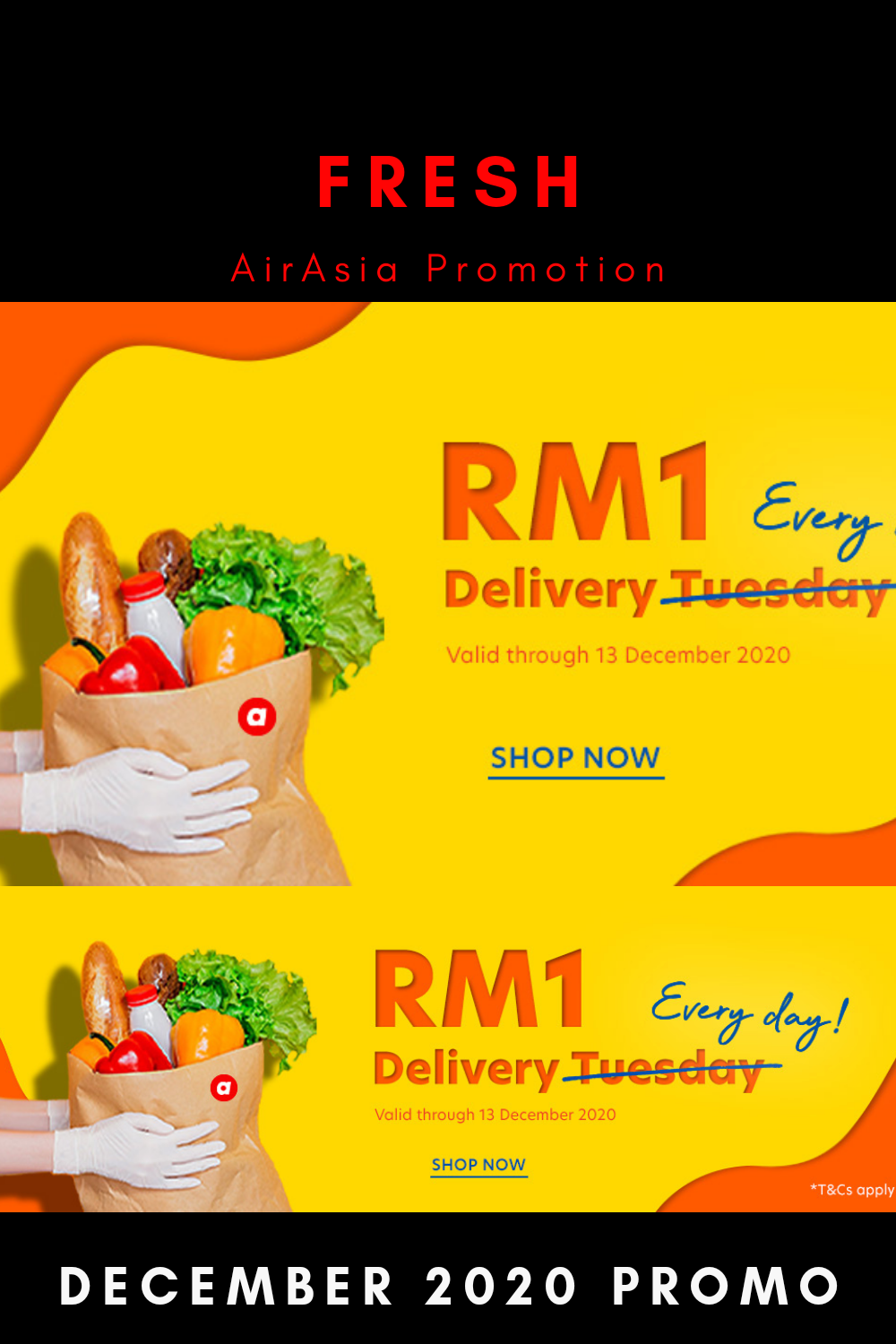 Fresh.Airasia Groceries Shopping RM 1 Delivery Sitewide December 2020 Promotion