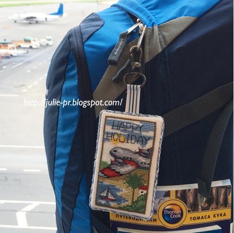 бирка для багажа, вышивка крестом, Джоан Эллиот, Joan Elliott, журнал Вышиваю крестиком. Спецвыпуск N2 Мужской клуб 2014, самолет