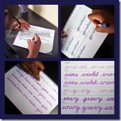 Son doing his Handwriting Practice