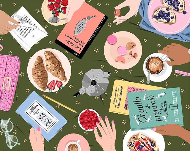 ilustración de mesa con libros y cafés