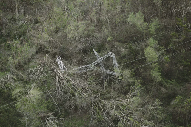 Aerial view of a destroyed power pylon in Puerto Rico after Hurricane Maria. Photo: Eliud Echevarría