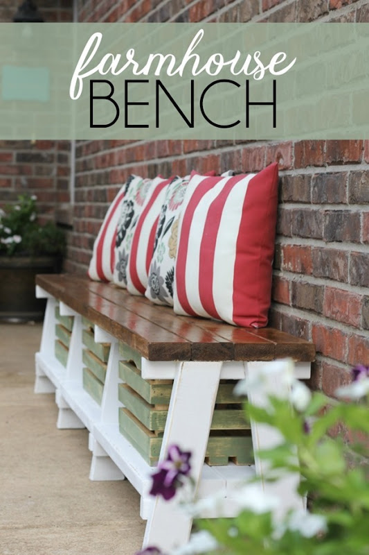 farmhouse bench from GingerSnapCrafts.com