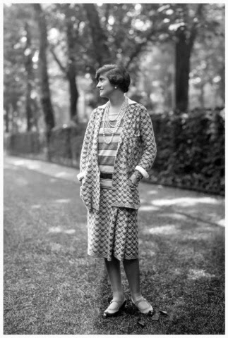 chanel jersey. she saw the advantages of wearing jersey clothing for women: it allowed far more movement than long dresses with corsets allowed. chanel suit