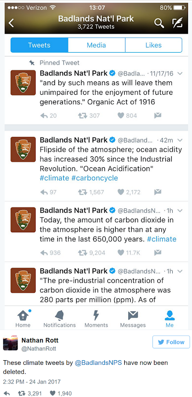 Now-deleted tweets from the Badlands National Park about climate science, in defiance of a Trump gag order on EPA and USDA scientists, 24 January 2017. Graphic: Badlands National Park / Nathan Rott