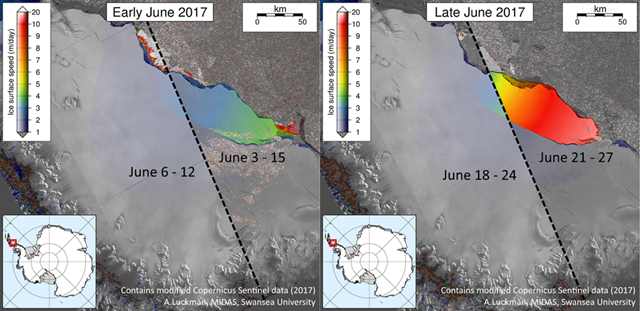 Comparison of speeds between Sentinel-1 image mosaics in early and late June 2017. The early mosaic combines displacements on the inner shelf measured between 6th and 12th June with similar ones on the outer shelf measured between 3rd and 15th June. The recent mosaic combines inner shelf displacements up to 24th June with outer shelf displacements only 3 days later highlighting a significant acceleration over those three days. Graphic: Adrian Luckman / Project MIDAS