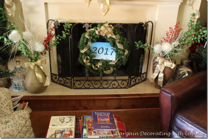 Hearth decorated for New Year