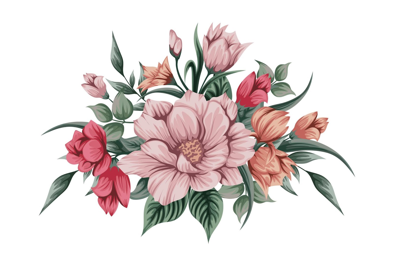 Beautiful Watercolour Bouquet Flowers Free Download Vector CDR, AI, EPS and PNG Formats