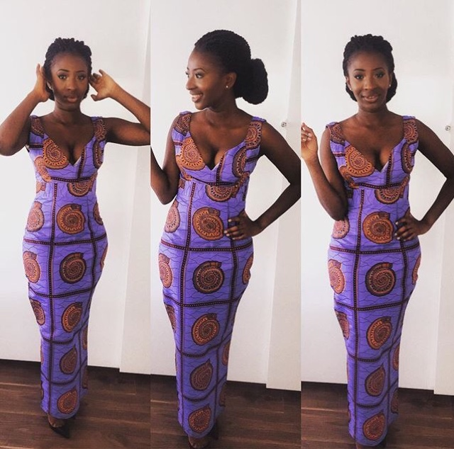girl wearing ankara material dress