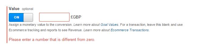 Goal Value setting