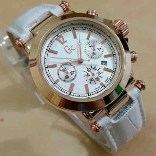 Jual jam tangan Gc kulit tgl putih