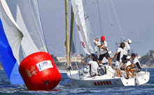 J/80 one-design sailboat- Spain MAPFRE sailing with spinnaker