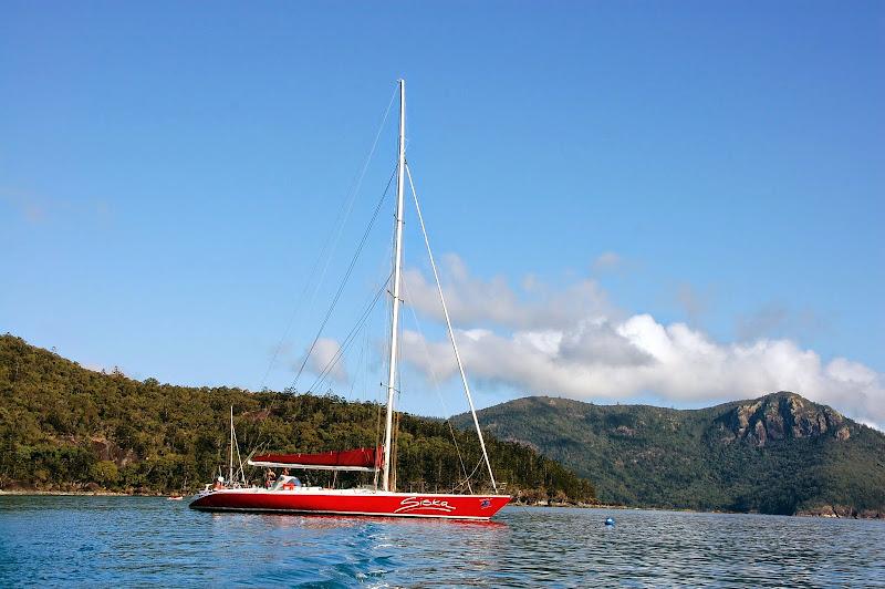 Unser Segelboot, die Siska. Sieht klein aus, aber es passen 24 Personen drauf. Die Siska hat auch schon an Rennen teilgenommen z.B. Sydney to Hobart.