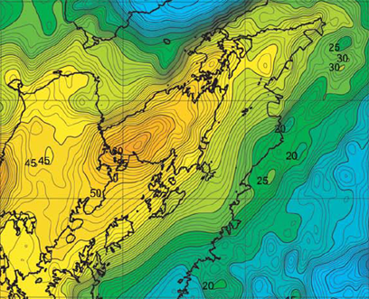 Bouguer gravity anomaly map of Kagoshima district