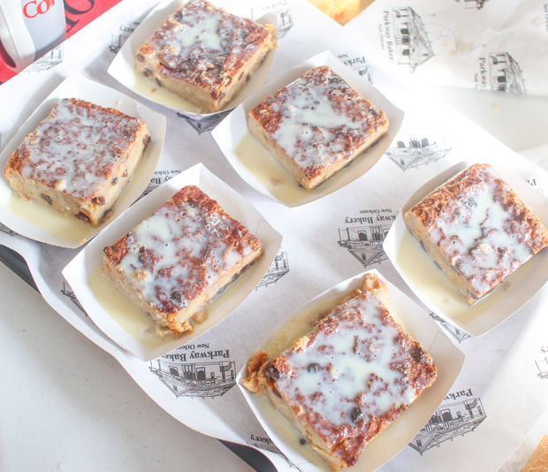 overhead photo of slices of bread pudding