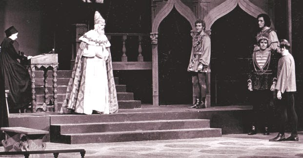 Confronting the doge in Shakespeare's Merchant of Venice, Great Lakes Shakespeare Festival, 1970