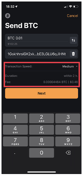 Fig.10. Illustration of transaction speed, duration, and fee in Unstoppable Wallet.