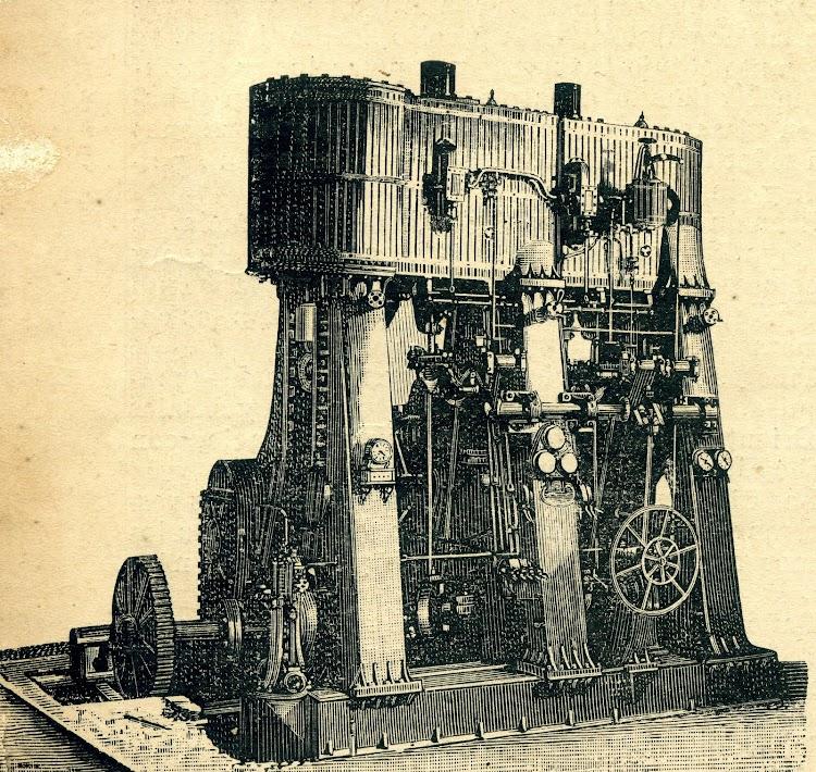 Maquina de vapor del buque. Revista de Navegación y Comercio. Año 1893.jpg