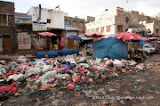The garbage collectors and street cleaners have been on strike for over two weeks in Sana'a in the midst of the raining season. At Souq Assabah in the old city, piles of wet trash have taken over vegetables in volume and smell.