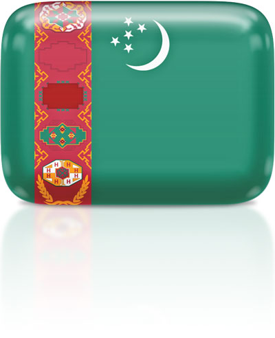 Turkmen flag clipart rectangular