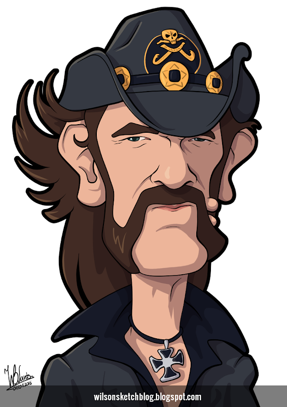 Cartoon caricature of Lemmy Kilmister.