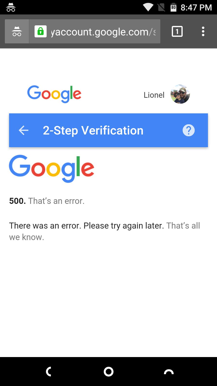 error 500 when attempting