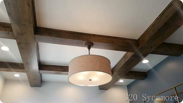 wood beams in office