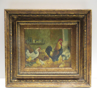 Unsigned Roosting Chickens Painting