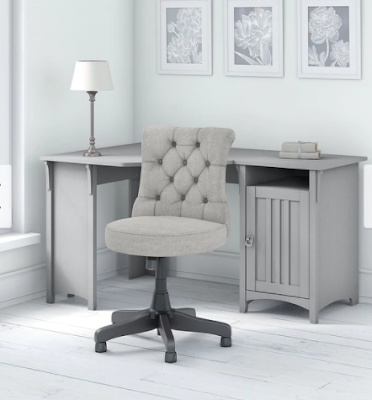 grey chair and grey desk in home office