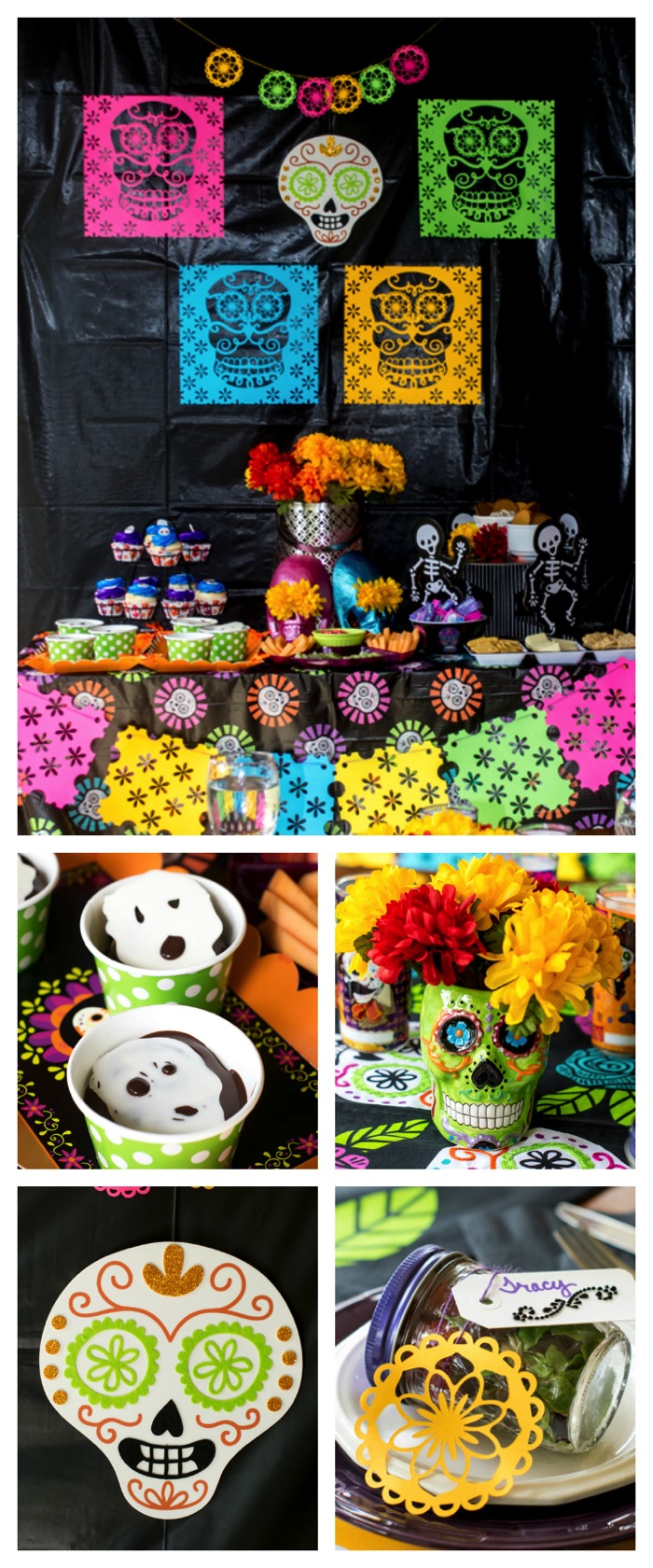 Looking for party ideas for Dia de los Muertos? This Day of the Dead Dinner Party is packed full of ideas. From recipes, to table settings, to crafts, you will have everything you need to throw a successful party!  #ad #CollectiveBias #CelebrateLosMuertos #DayoftheDead