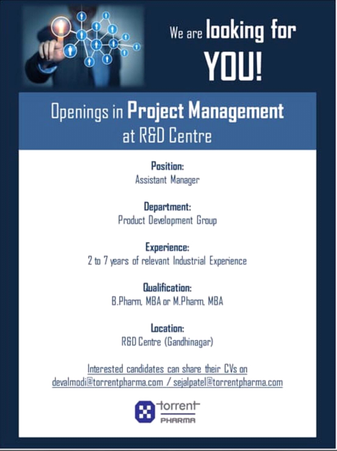Torrent Pharma - Urgently Opening for Project Management | Apply CV Now