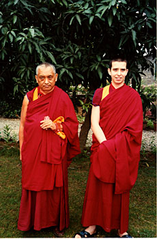 Lama Zopa Rinpoche and Osel in India
