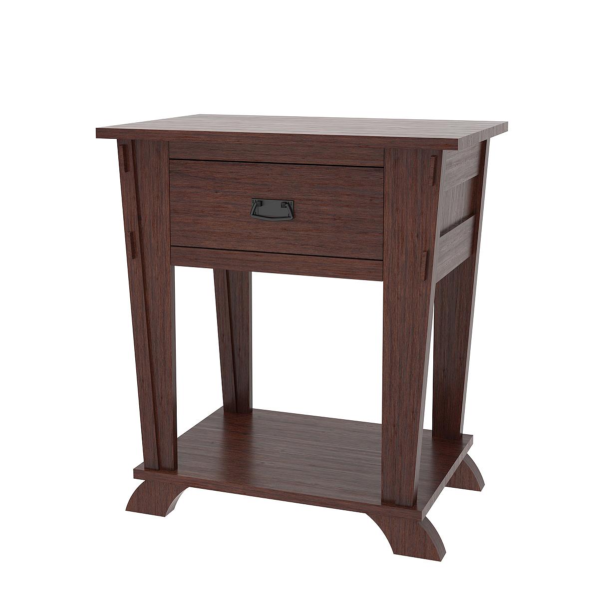 Baroque Nightstand With Shelf Stormy Walnut