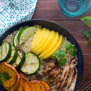 JERK CHICKEN AND GRILLED VEGETABLE QUINOA BOWLS.