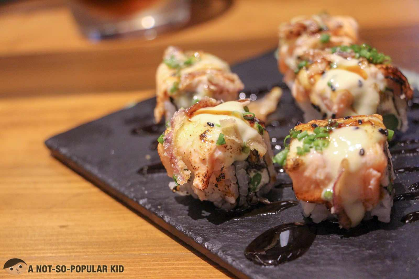 Salmon Skin Aburi Maki of Ooma in Greenbelt