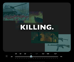 "Screen capture from ""What They Said"" by Alan Bigelow. Black background with various images of war displayed in a top to bottom, left to right diagonal way. Text: ""Killing."""