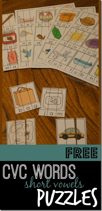 FREE CVC Word Puzzles - short vowels in color or black and white. These kindergarten worksheets are perfect for helping young learners learn to sound words out (phonics), read, spell, and begin to identify CVC words with a fun educational activity. (words for preschool, prek, first grade too)