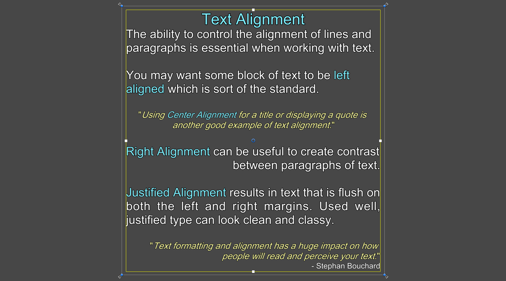 Justify text unity forum textmesh pro also gives you the ability to use different text alignment within the same block of text using the alignxx tag ccuart Image collections