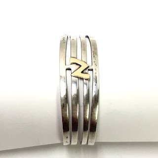Sterling Silver Cuff with 14 Kt. Gold Detail