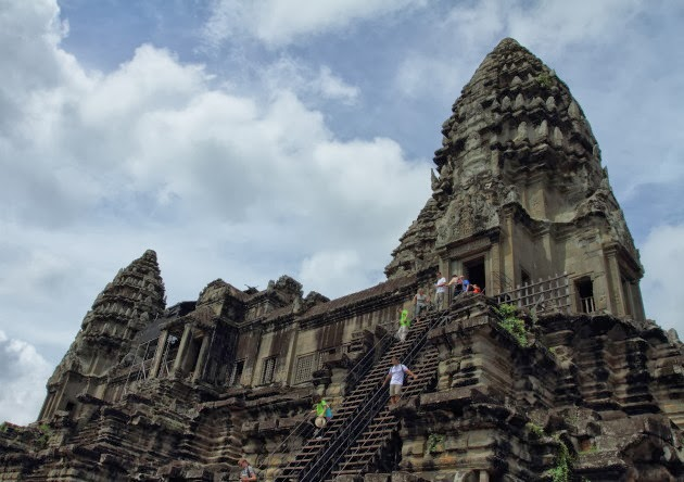 Steep flight of steps to the 3rd level of Angkor Wat, Cambodia