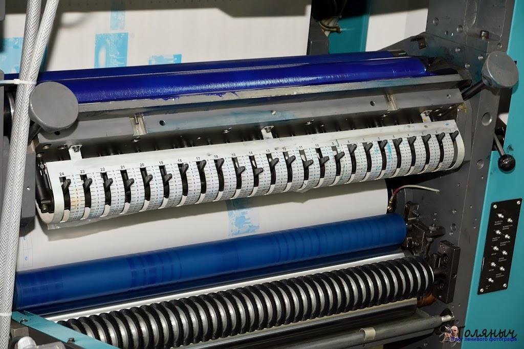 Станок, на котором печатаются цветные газеты, блок управления подачей краски
