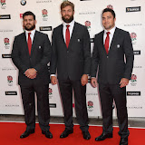 OIC - ENTSIMAGES.COM - Rob Webber, Geoff Parling and Brad Barritt at the  Carry Them Home - rugby dinner (Suits provide by Eden Park) at the Grosvenor House London 5th August 2015 Photo Mobis Photos/OIC 0203 174 1069