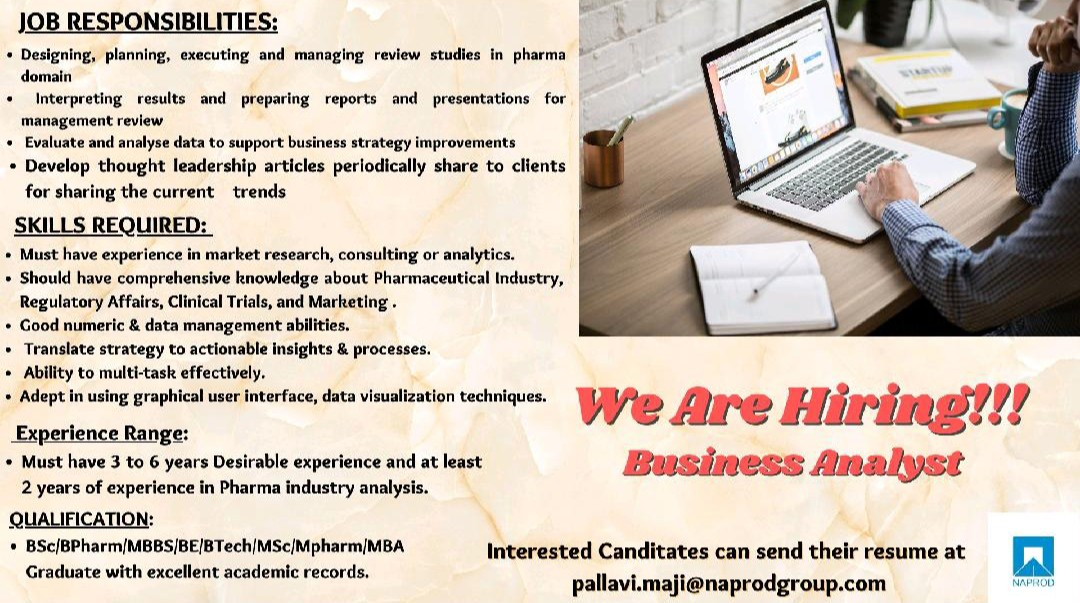 Opening For Business Analyst At Naprod Life Sciences