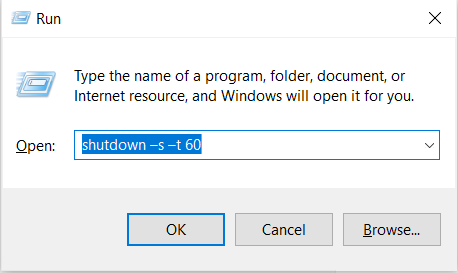 Shutdown Windows 10 From Run Dialog