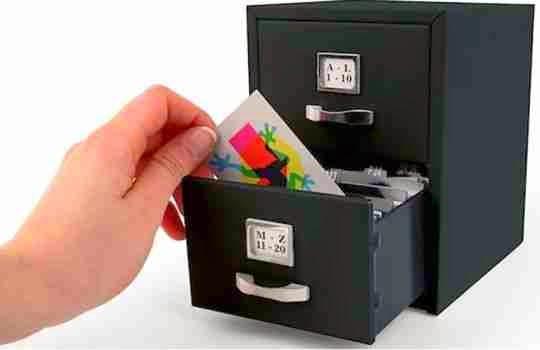 Mini archivador para tarjetas de regalos