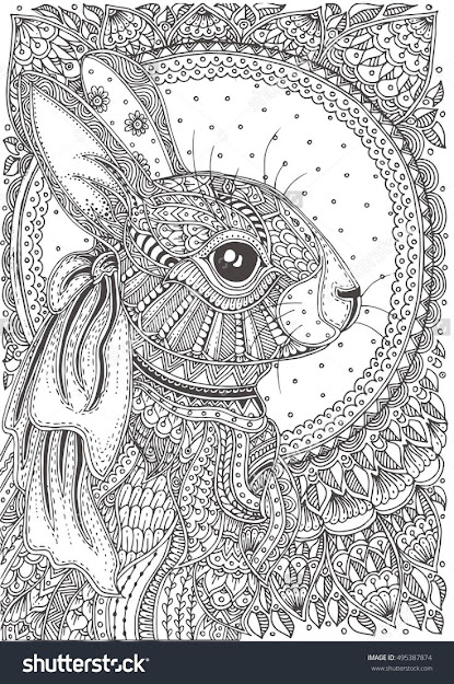 Rabbit Handdrawn With Ethnic Floral Doodle Pattern Coloring Page   Zendala Design Animal Coloring Pagescolouring